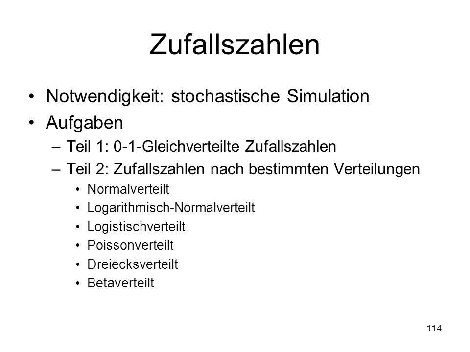 Zufallszahlen Notwendigkeit: stochastische Simulation Aufgaben –Teil 1: 0-1-Gleichverteilte Zufallszahlen –Teil 2: Zufallszahlen nach bestimmten Verte