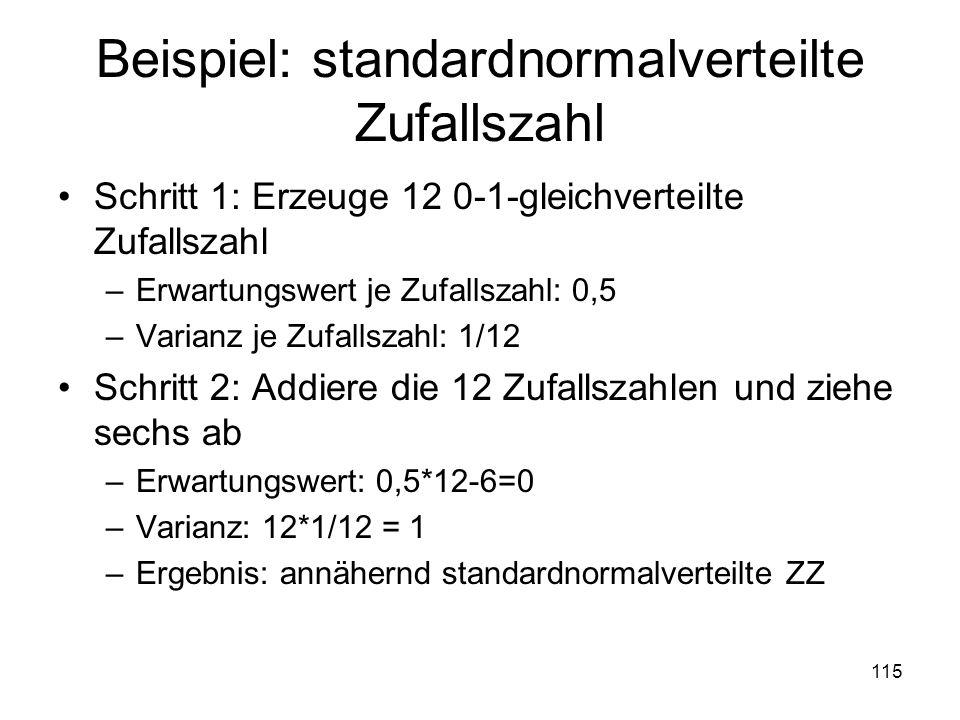 Beispiel: standardnormalverteilte Zufallszahl Schritt 1: Erzeuge 12 0-1-gleichverteilte Zufallszahl –Erwartungswert je Zufallszahl: 0,5 –Varianz je Zu
