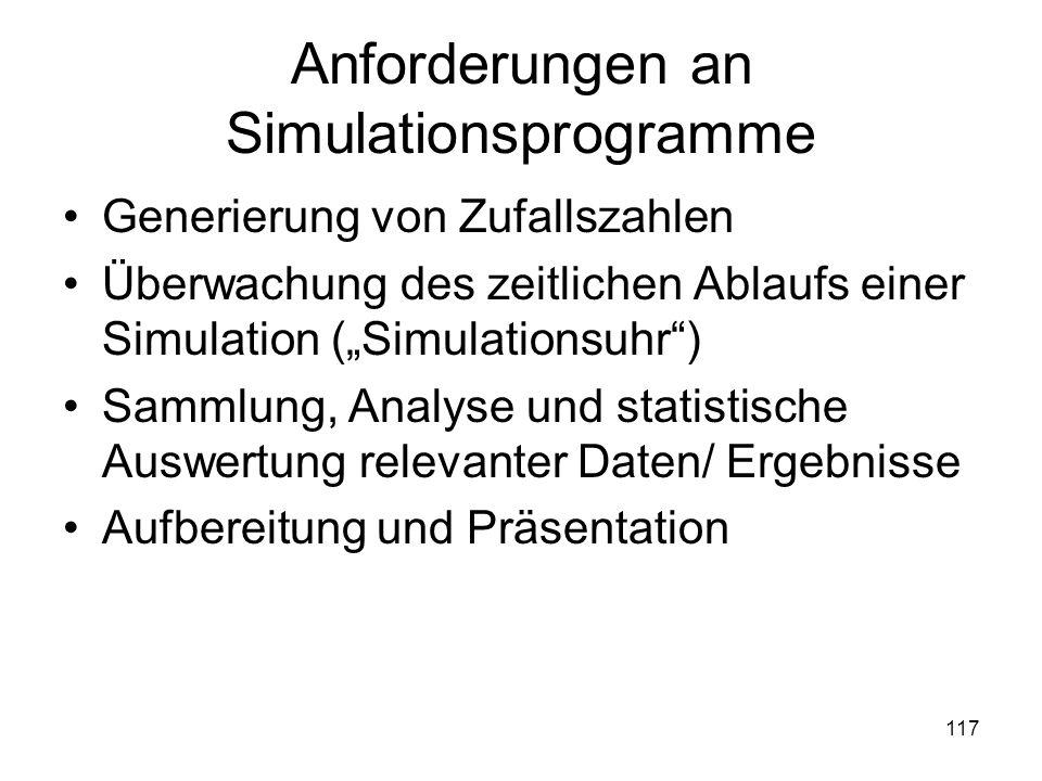 Anforderungen an Simulationsprogramme Generierung von Zufallszahlen Überwachung des zeitlichen Ablaufs einer Simulation (Simulationsuhr) Sammlung, Ana