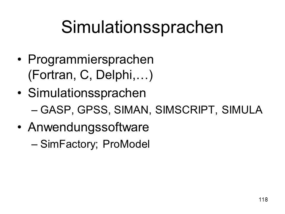 Simulationssprachen Programmiersprachen (Fortran, C, Delphi,…) Simulationssprachen –GASP, GPSS, SIMAN, SIMSCRIPT, SIMULA Anwendungssoftware –SimFactor