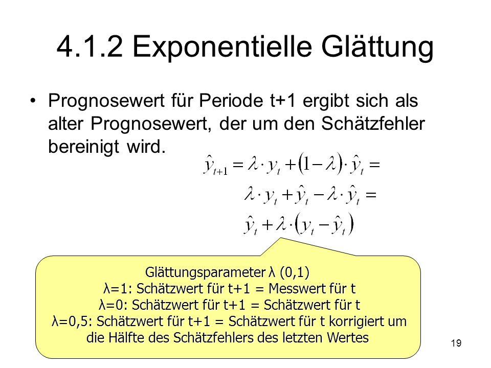 4.1.2 Exponentielle Glättung Prognosewert für Periode t+1 ergibt sich als alter Prognosewert, der um den Schätzfehler bereinigt wird. Glättungsparamet