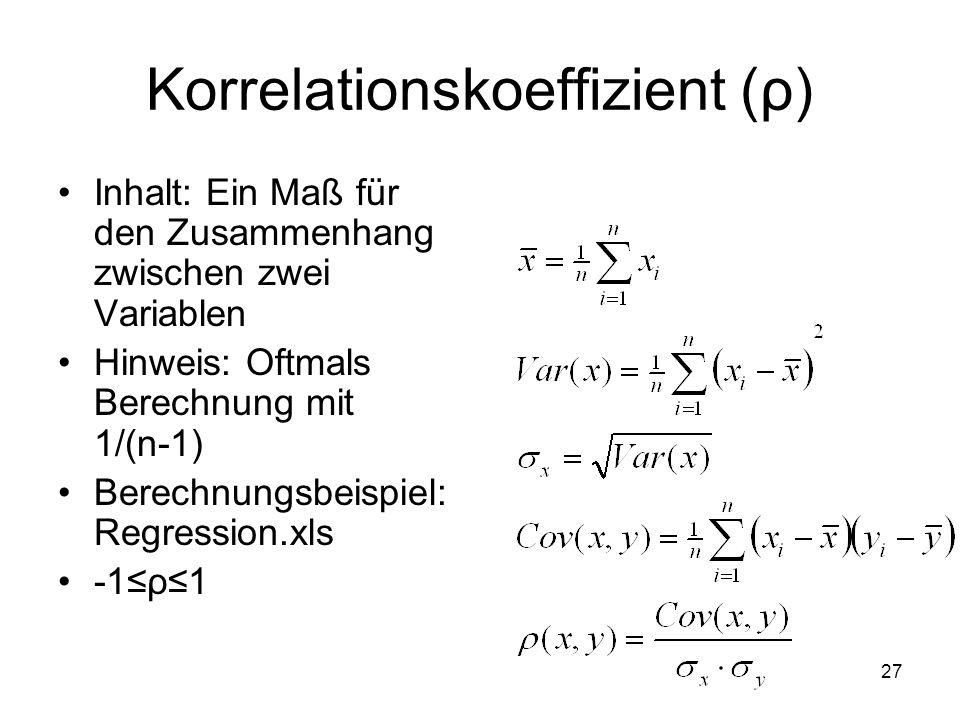 Korrelationskoeffizient ( ρ ) Inhalt: Ein Maß für den Zusammenhang zwischen zwei Variablen Hinweis: Oftmals Berechnung mit 1/(n-1) Berechnungsbeispiel