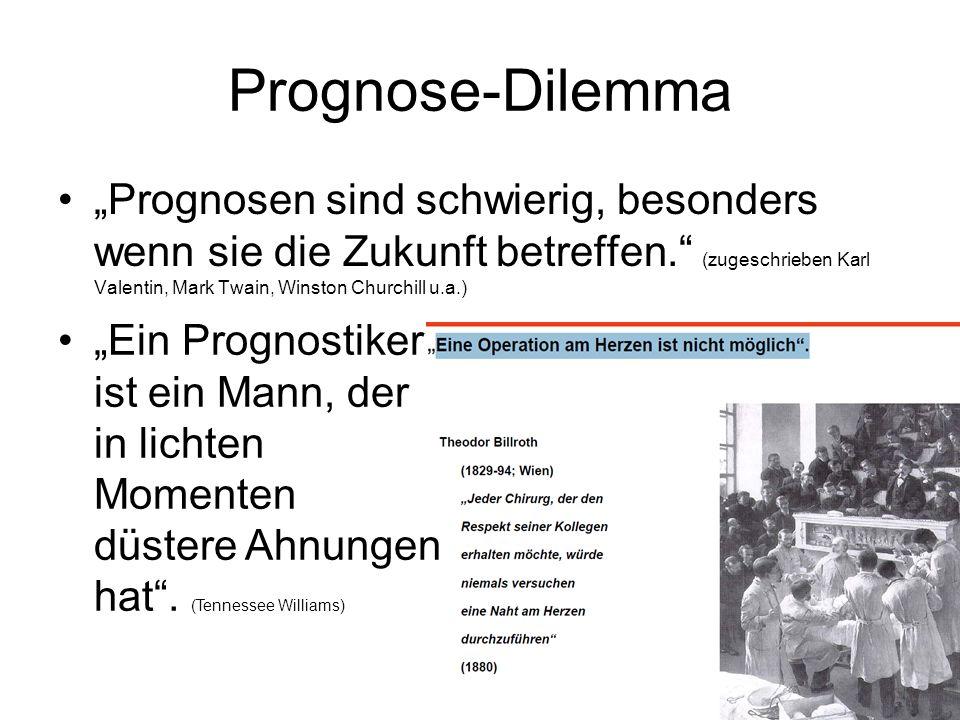 Prognose-Dilemma Prognosen sind schwierig, besonders wenn sie die Zukunft betreffen. (zugeschrieben Karl Valentin, Mark Twain, Winston Churchill u.a.)