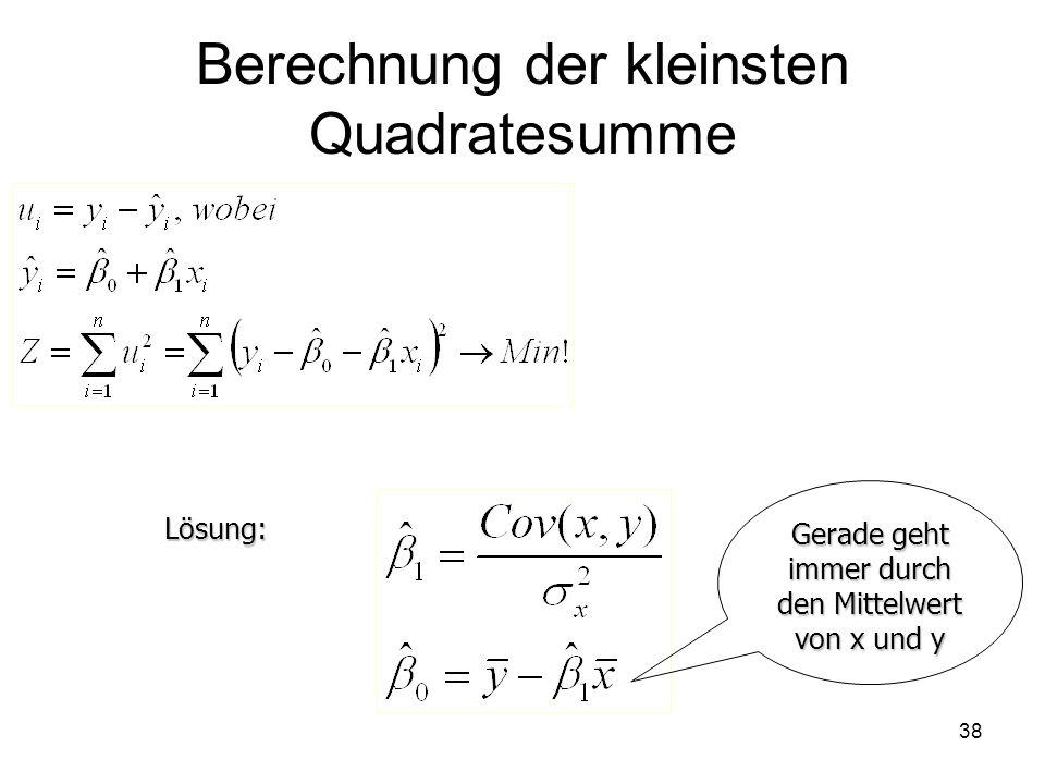 Berechnung der kleinsten Quadratesumme Lösung: Gerade geht immer durch den Mittelwert von x und y 38