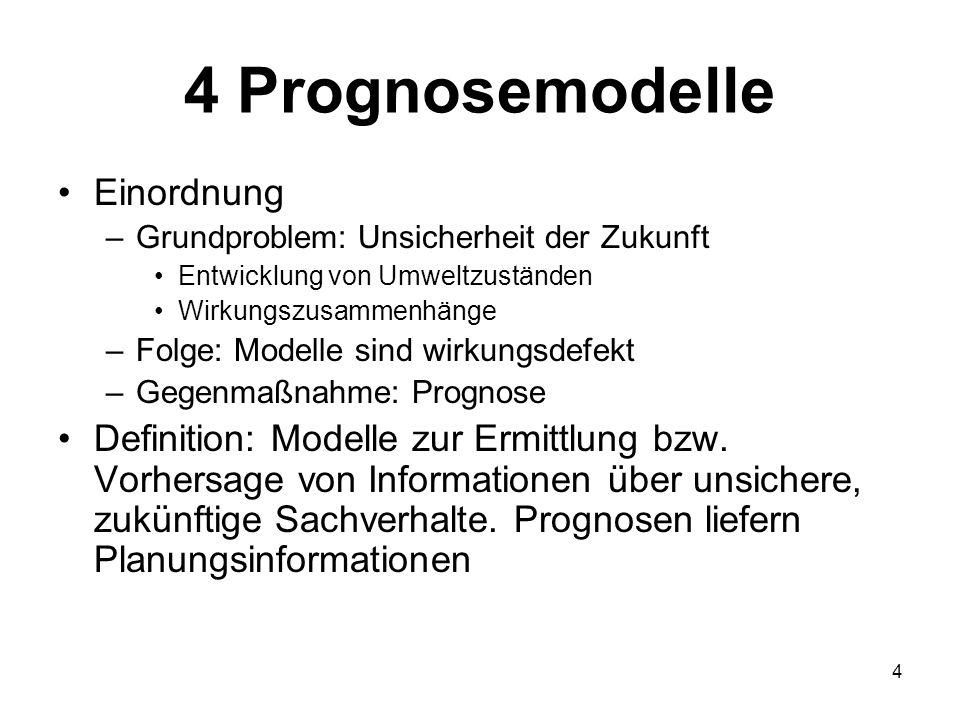 4 Prognosemodelle Einordnung –Grundproblem: Unsicherheit der Zukunft Entwicklung von Umweltzuständen Wirkungszusammenhänge –Folge: Modelle sind wirkun