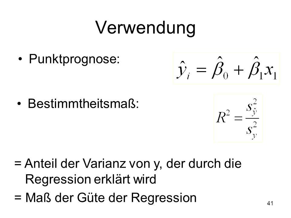 Verwendung Punktprognose: Bestimmtheitsmaß: = Anteil der Varianz von y, der durch die Regression erklärt wird = Maß der Güte der Regression 41