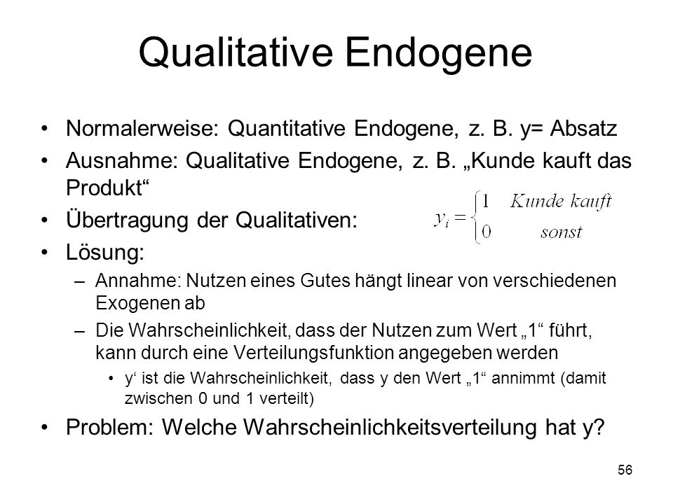 Qualitative Endogene Normalerweise: Quantitative Endogene, z. B. y= Absatz Ausnahme: Qualitative Endogene, z. B. Kunde kauft das Produkt Übertragung d