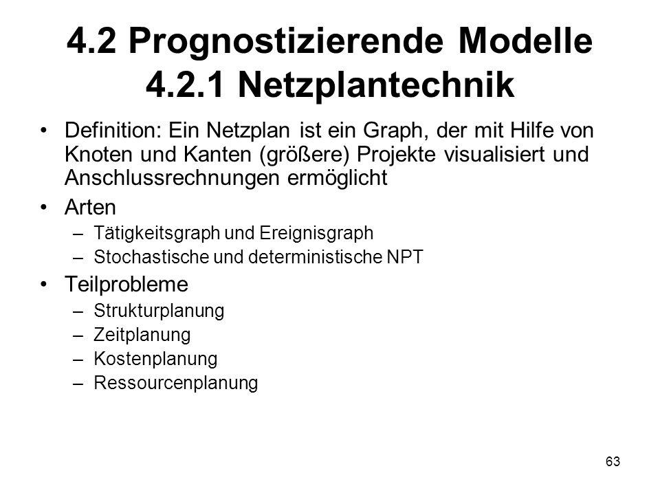4.2 Prognostizierende Modelle 4.2.1 Netzplantechnik Definition: Ein Netzplan ist ein Graph, der mit Hilfe von Knoten und Kanten (größere) Projekte vis