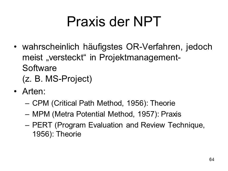 Praxis der NPT wahrscheinlich häufigstes OR-Verfahren, jedoch meist versteckt in Projektmanagement- Software (z. B. MS-Project) Arten: –CPM (Critical