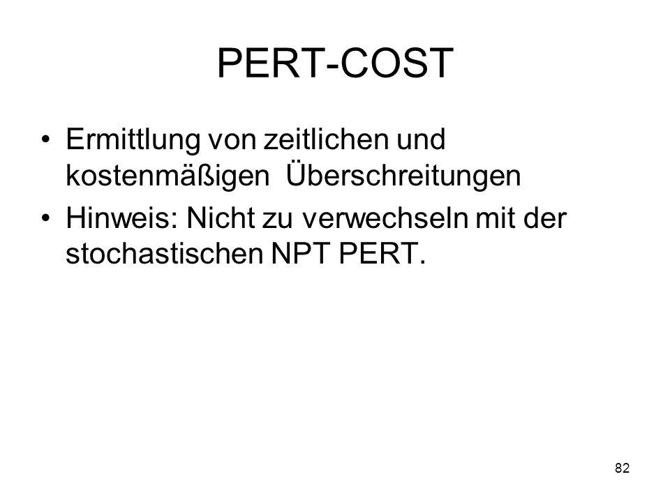 PERT-COST Ermittlung von zeitlichen und kostenmäßigen Überschreitungen Hinweis: Nicht zu verwechseln mit der stochastischen NPT PERT. 82