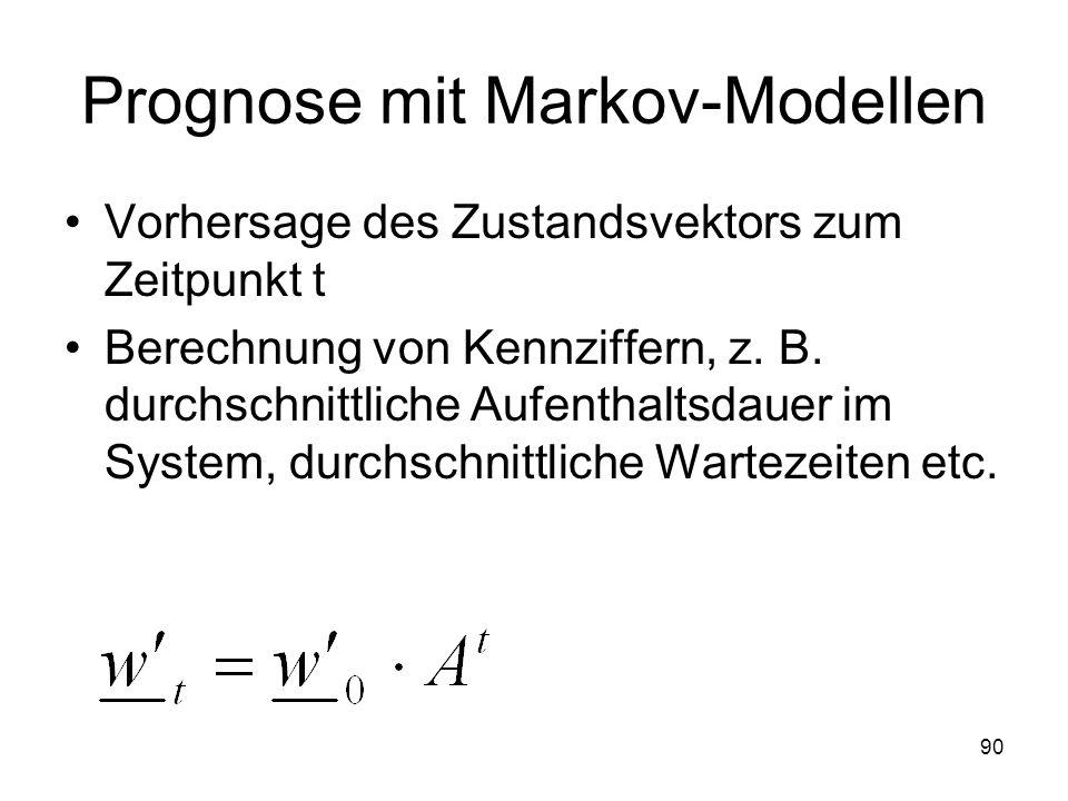 Prognose mit Markov-Modellen Vorhersage des Zustandsvektors zum Zeitpunkt t Berechnung von Kennziffern, z. B. durchschnittliche Aufenthaltsdauer im Sy