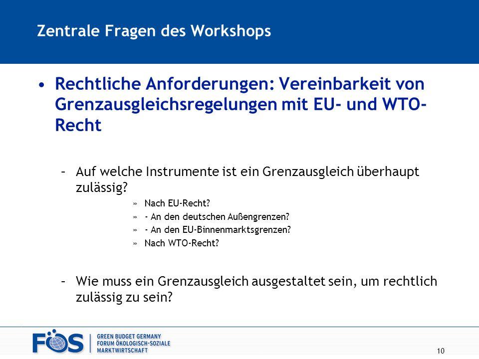 10 Zentrale Fragen des Workshops Rechtliche Anforderungen: Vereinbarkeit von Grenzausgleichsregelungen mit EU- und WTO- Recht –Auf welche Instrumente