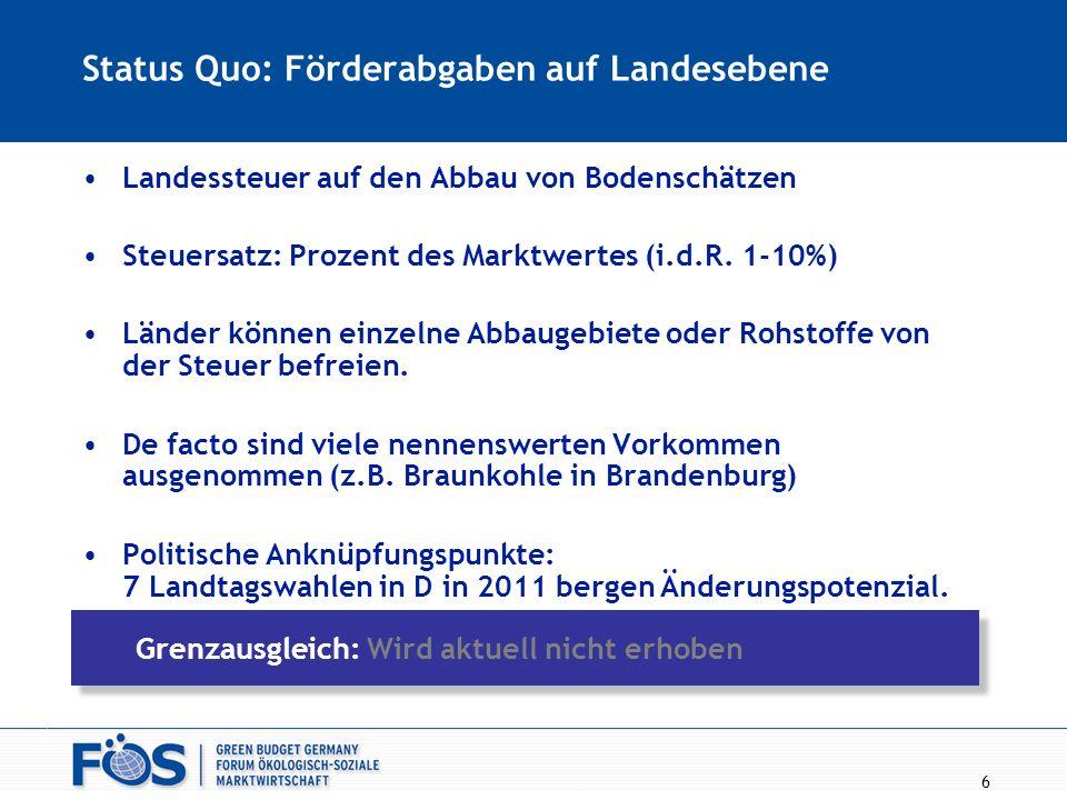 6 Status Quo: Förderabgaben auf Landesebene Landessteuer auf den Abbau von Bodenschätzen Steuersatz: Prozent des Marktwertes (i.d.R. 1-10%) Länder kön