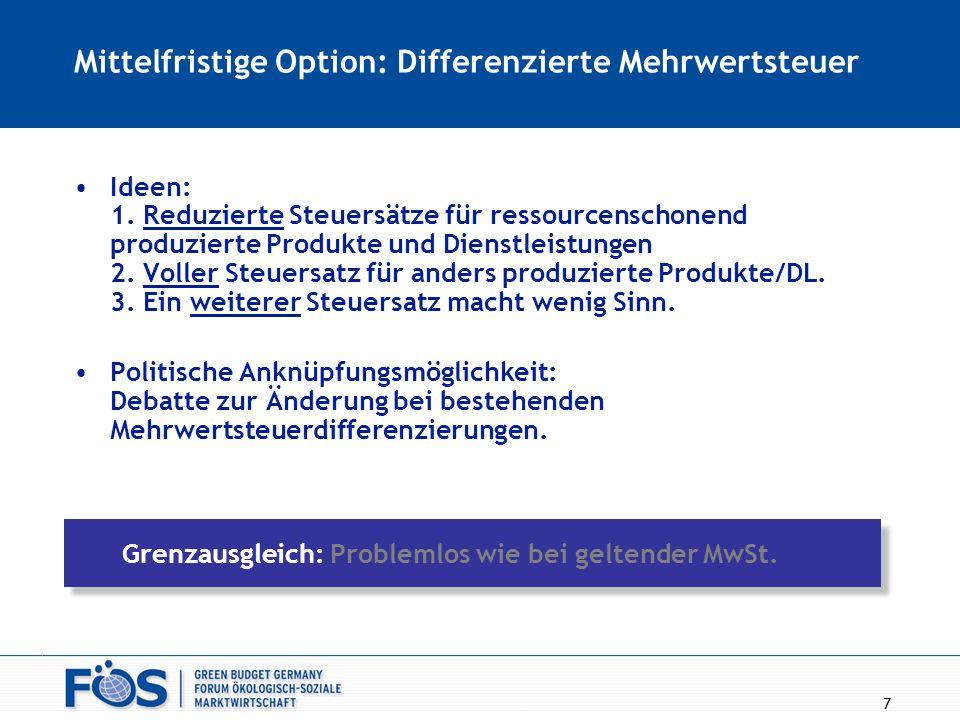 7 Mittelfristige Option: Differenzierte Mehrwertsteuer Ideen: 1. Reduzierte Steuersätze für ressourcenschonend produzierte Produkte und Dienstleistung