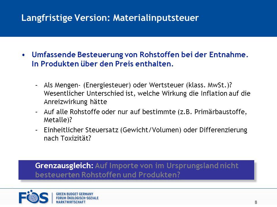 8 Langfristige Version: Materialinputsteuer Umfassende Besteuerung von Rohstoffen bei der Entnahme. In Produkten über den Preis enthalten. –Als Mengen