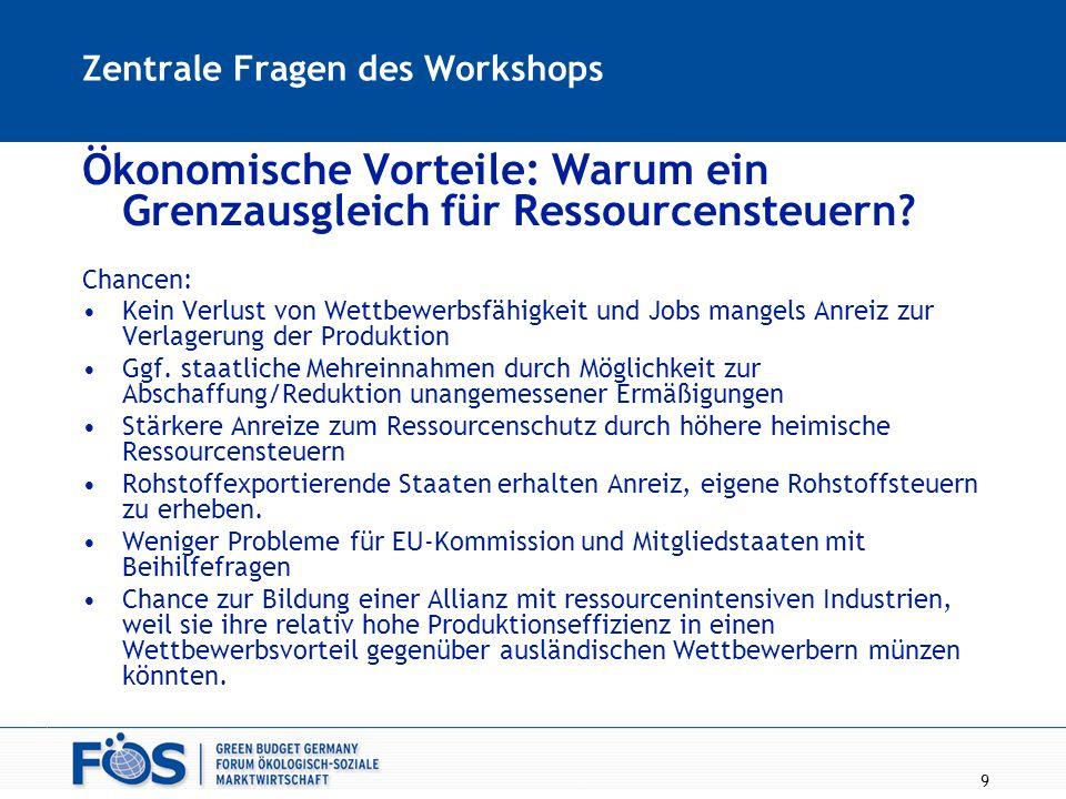 9 Zentrale Fragen des Workshops Ökonomische Vorteile: Warum ein Grenzausgleich für Ressourcensteuern? Chancen: Kein Verlust von Wettbewerbsfähigkeit u