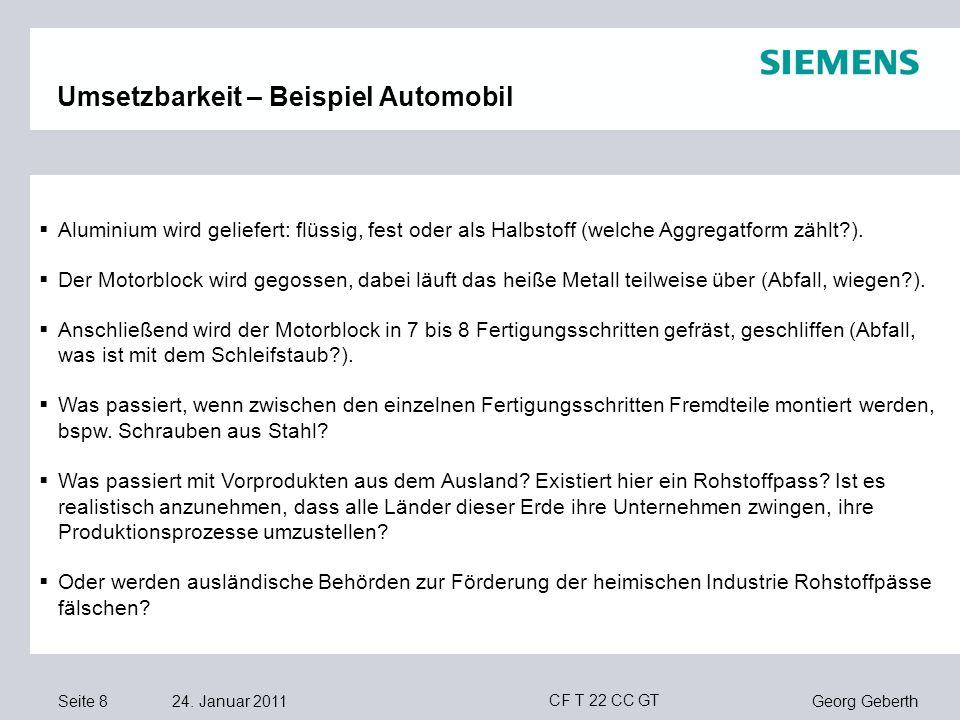 Seite 8 24. Januar 2011 Georg Geberth CF T 22 CC GT Umsetzbarkeit – Beispiel Automobil Aluminium wird geliefert: flüssig, fest oder als Halbstoff (wel