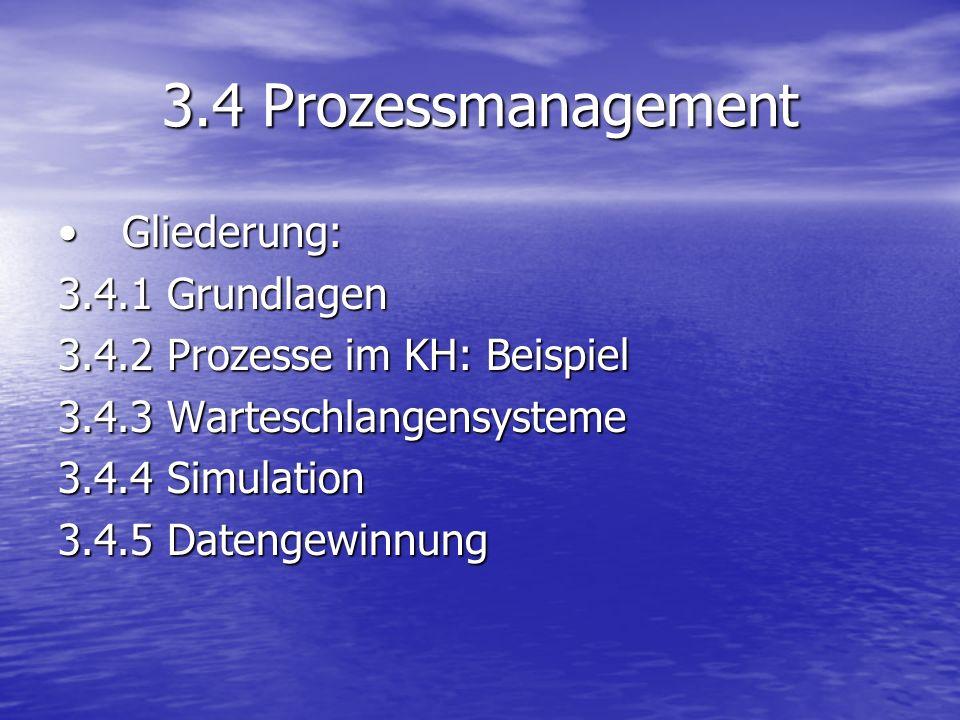 3.4 Prozessmanagement Gliederung:Gliederung: 3.4.1 Grundlagen 3.4.2 Prozesse im KH: Beispiel 3.4.3 Warteschlangensysteme 3.4.4 Simulation 3.4.5 Dateng