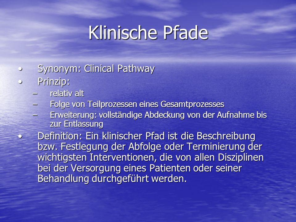 Klinische Pfade Synonym: Clinical PathwaySynonym: Clinical Pathway Prinzip:Prinzip: –relativ alt –Folge von Teilprozessen eines Gesamtprozesses –Erwei
