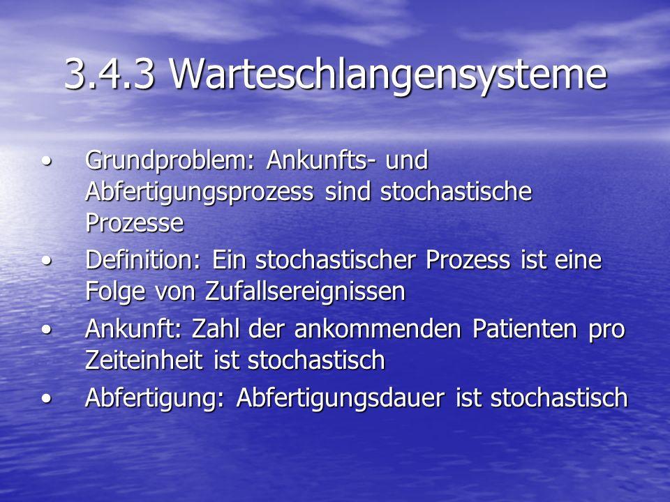 3.4.3 Warteschlangensysteme Grundproblem: Ankunfts- und Abfertigungsprozess sind stochastische ProzesseGrundproblem: Ankunfts- und Abfertigungsprozess