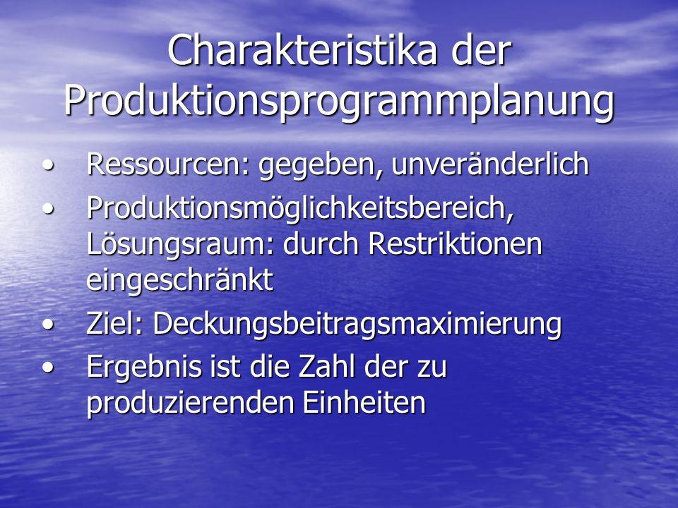 Charakteristika der Produktionsprogrammplanung Ressourcen: gegeben, unveränderlichRessourcen: gegeben, unveränderlich Produktionsmöglichkeitsbereich,