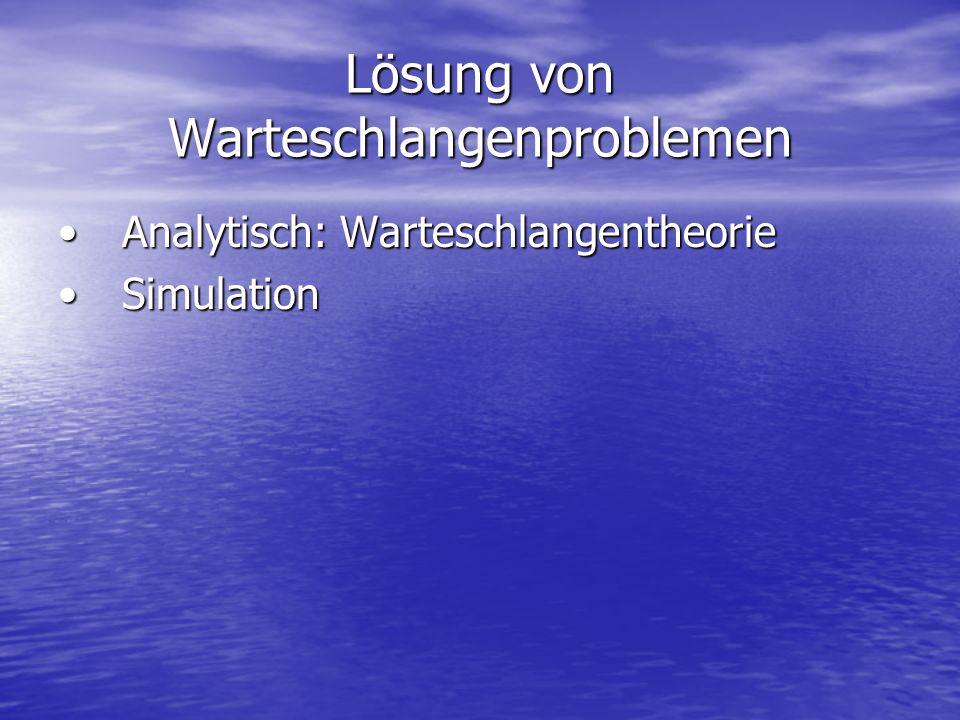 Lösung von Warteschlangenproblemen Analytisch: WarteschlangentheorieAnalytisch: Warteschlangentheorie SimulationSimulation