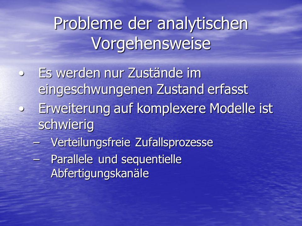 Probleme der analytischen Vorgehensweise Es werden nur Zustände im eingeschwungenen Zustand erfasstEs werden nur Zustände im eingeschwungenen Zustand
