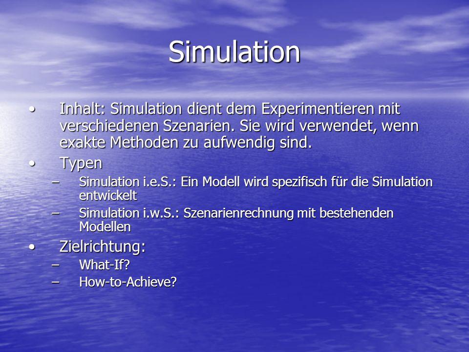 Simulation Inhalt: Simulation dient dem Experimentieren mit verschiedenen Szenarien. Sie wird verwendet, wenn exakte Methoden zu aufwendig sind.Inhalt