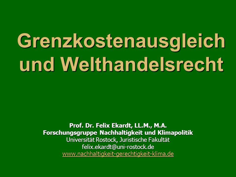Grenzkostenausgleich und Welthandelsrecht Prof. Dr.