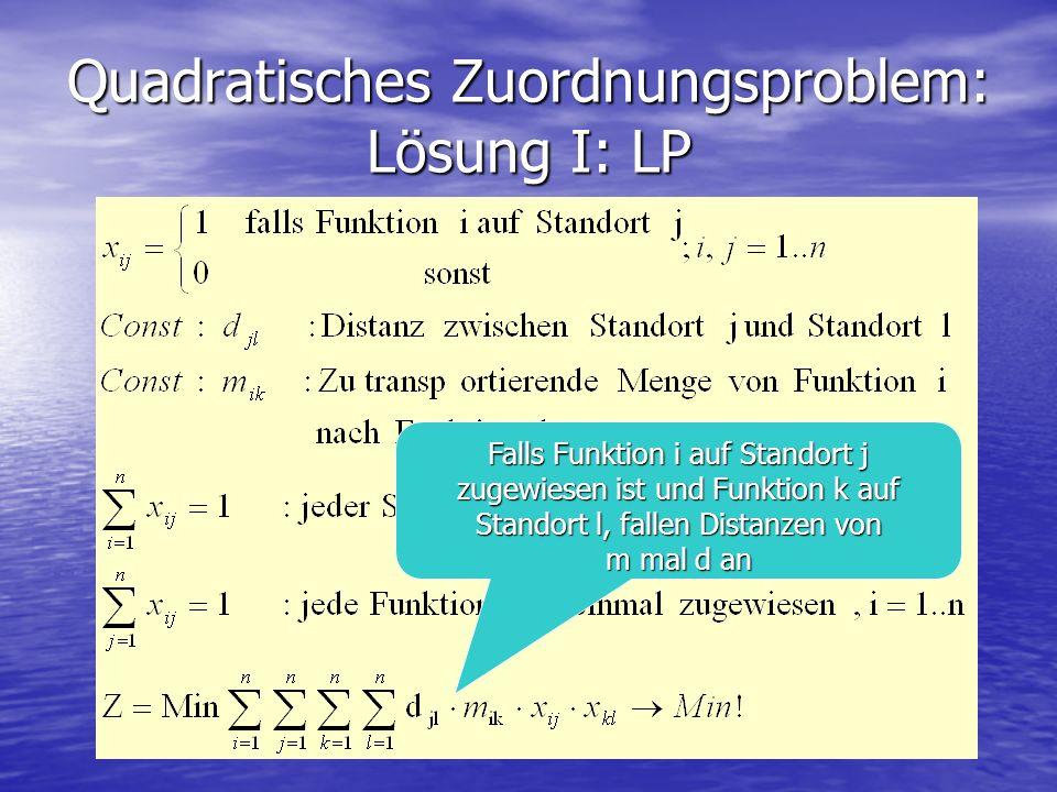 Falls Funktion i auf Standort j zugewiesen ist und Funktion k auf Standort l, fallen Distanzen von m mal d an