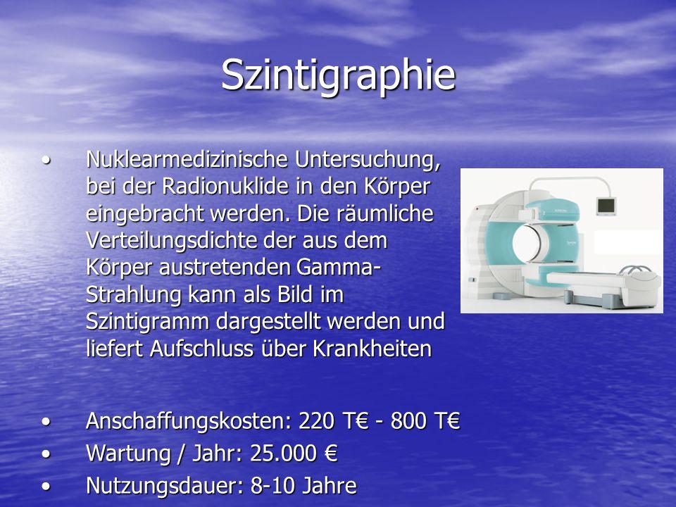 Szintigraphie Nuklearmedizinische Untersuchung, bei der Radionuklide in den Körper eingebracht werden.