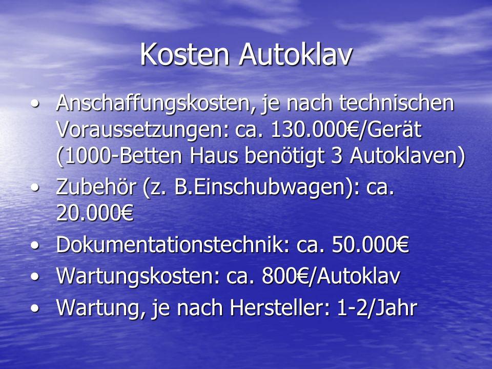 Kosten Autoklav Anschaffungskosten, je nach technischen Voraussetzungen: ca.