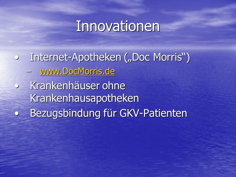 Innovationen Internet-Apotheken (Doc Morris)Internet-Apotheken (Doc Morris) –www.DocMorris.de www.DocMorris.de Krankenhäuser ohne KrankenhausapothekenKrankenhäuser ohne Krankenhausapotheken Bezugsbindung für GKV-PatientenBezugsbindung für GKV-Patienten