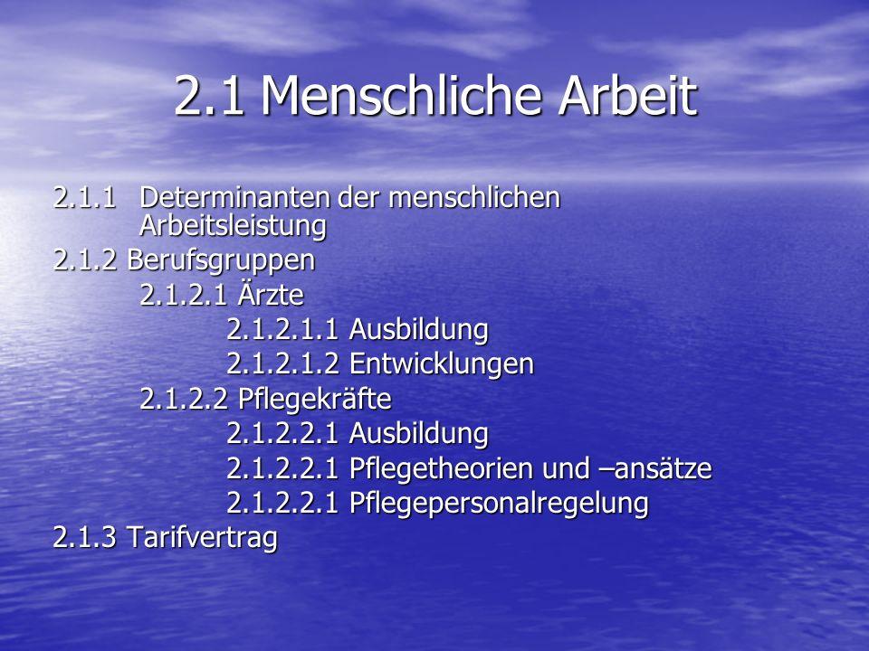 2.1Menschliche Arbeit 2.1.1 Determinanten der menschlichen Arbeitsleistung 2.1.2 Berufsgruppen 2.1.2.1 Ärzte 2.1.2.1.1 Ausbildung 2.1.2.1.2 Entwicklungen 2.1.2.2 Pflegekräfte 2.1.2.2.1 Ausbildung 2.1.2.2.1 Pflegetheorien und –ansätze 2.1.2.2.1 Pflegepersonalregelung 2.1.3 Tarifvertrag