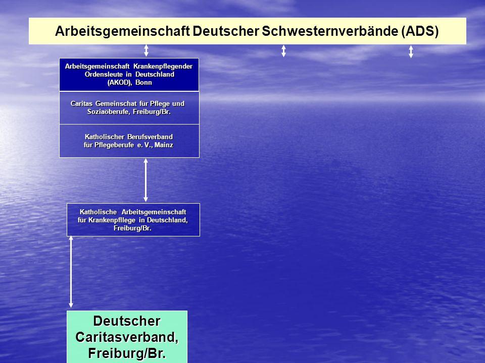 Arbeitsgemeinschaft Deutscher Schwesternverbände (ADS) Arbeitsgemeinschaft Krankenpflegender Ordensleute in Deutschland Ordensleute in Deutschland (AKOD), Bonn (AKOD), Bonn Caritas Gemeinschat für Pflege und Soziaöberufe, Freiburg/Br.