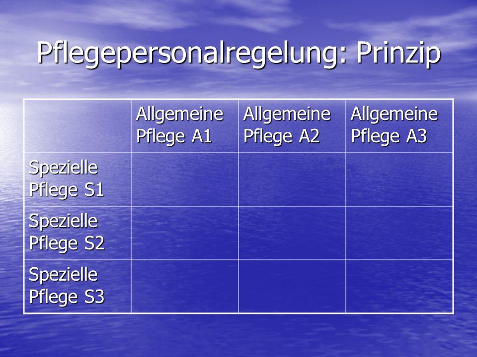 Pflegepersonalregelung: Prinzip Allgemeine Pflege A1 Allgemeine Pflege A2 Allgemeine Pflege A3 Spezielle Pflege S1 Spezielle Pflege S2 Spezielle Pflege S3