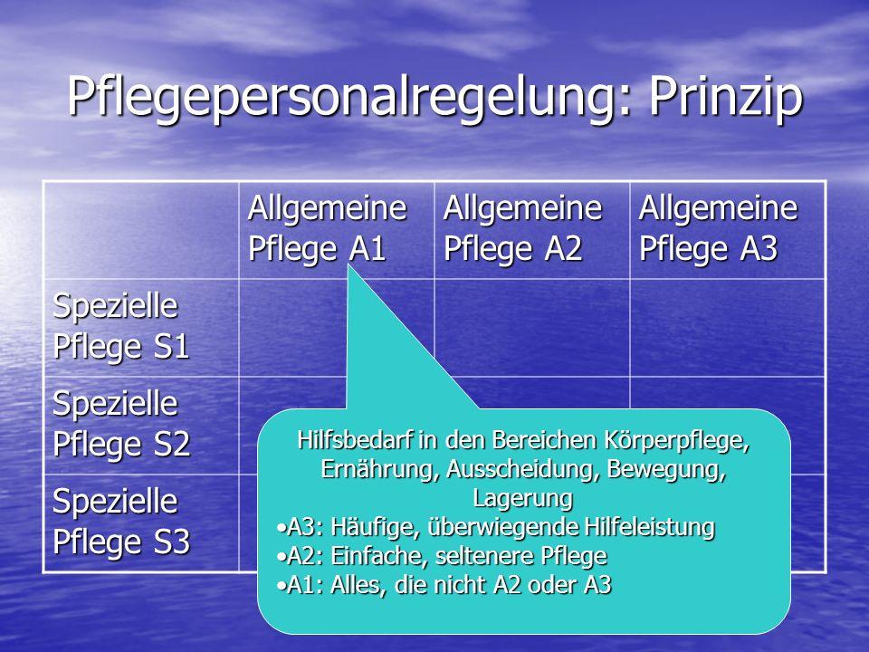 Pflegepersonalregelung: Prinzip Allgemeine Pflege A1 Allgemeine Pflege A2 Allgemeine Pflege A3 Spezielle Pflege S1 Spezielle Pflege S2 Spezielle Pflege S3 Hilfsbedarf in den Bereichen Körperpflege, Ernährung, Ausscheidung, Bewegung, Lagerung A3: Häufige, überwiegende HilfeleistungA3: Häufige, überwiegende Hilfeleistung A2: Einfache, seltenere PflegeA2: Einfache, seltenere Pflege A1: Alles, die nicht A2 oder A3A1: Alles, die nicht A2 oder A3