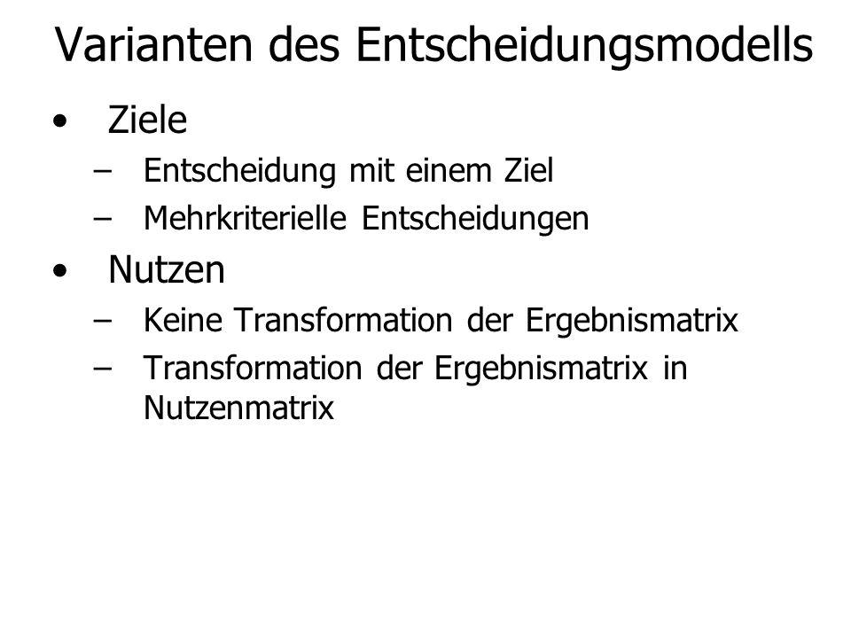 Varianten des Entscheidungsmodells Ziele –Entscheidung mit einem Ziel –Mehrkriterielle Entscheidungen Nutzen –Keine Transformation der Ergebnismatrix –Transformation der Ergebnismatrix in Nutzenmatrix