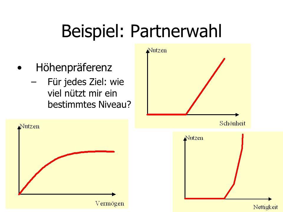 Beispiel: Partnerwahl Höhenpräferenz –Für jedes Ziel: wie viel nützt mir ein bestimmtes Niveau?