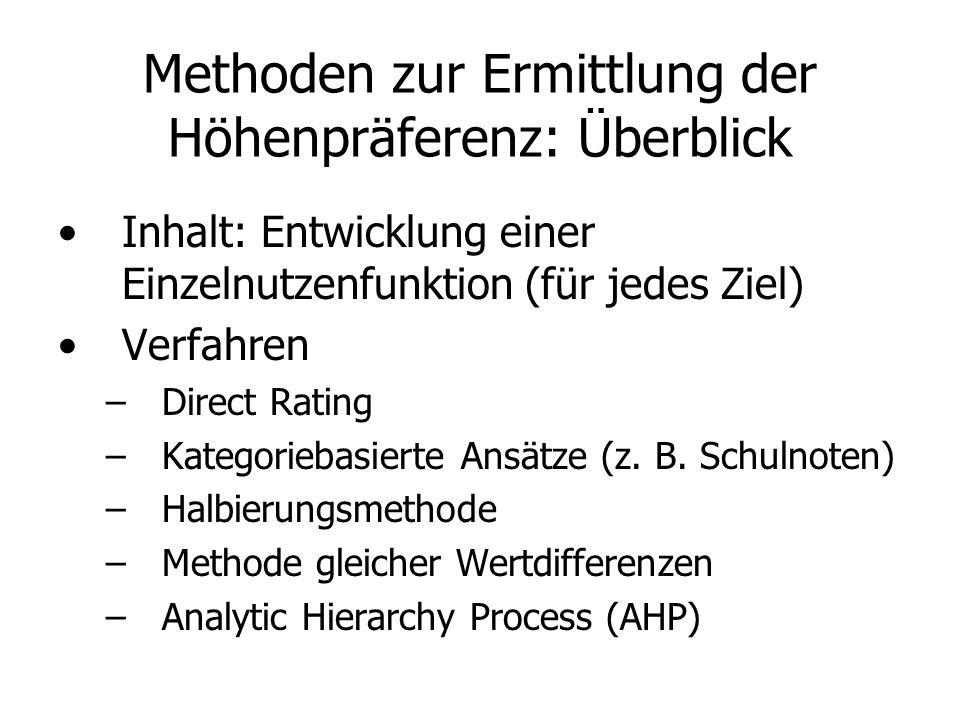 Methoden zur Ermittlung der Höhenpräferenz: Überblick Inhalt: Entwicklung einer Einzelnutzenfunktion (für jedes Ziel) Verfahren –Direct Rating –Kategoriebasierte Ansätze (z.