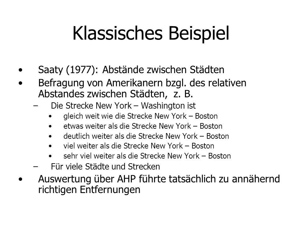 Klassisches Beispiel Saaty (1977): Abstände zwischen Städten Befragung von Amerikanern bzgl.