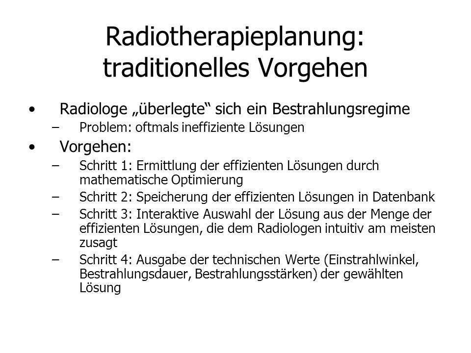 Radiotherapieplanung: traditionelles Vorgehen Radiologe überlegte sich ein Bestrahlungsregime –Problem: oftmals ineffiziente Lösungen Vorgehen: –Schritt 1: Ermittlung der effizienten Lösungen durch mathematische Optimierung –Schritt 2: Speicherung der effizienten Lösungen in Datenbank –Schritt 3: Interaktive Auswahl der Lösung aus der Menge der effizienten Lösungen, die dem Radiologen intuitiv am meisten zusagt –Schritt 4: Ausgabe der technischen Werte (Einstrahlwinkel, Bestrahlungsdauer, Bestrahlungsstärken) der gewählten Lösung