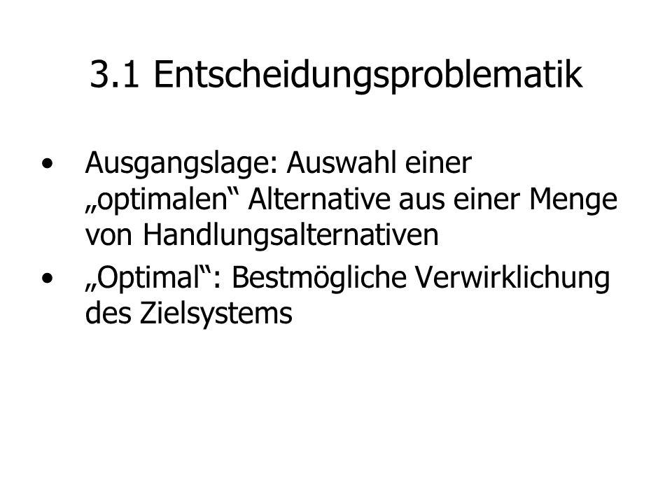 Gliederung 3 Konzepte der Entscheidungstheorie 3.1 Grundmodell der Entscheidungstheorie 3.2 Entscheidung bei eindimensionalen Zielsystemen 3.3 Mehrdimensionale Zielsysteme 3.3.1 Lösung von Zielkonflikten 3.3.2 Entscheidung in Gruppen 3.4 Nutzentheorie