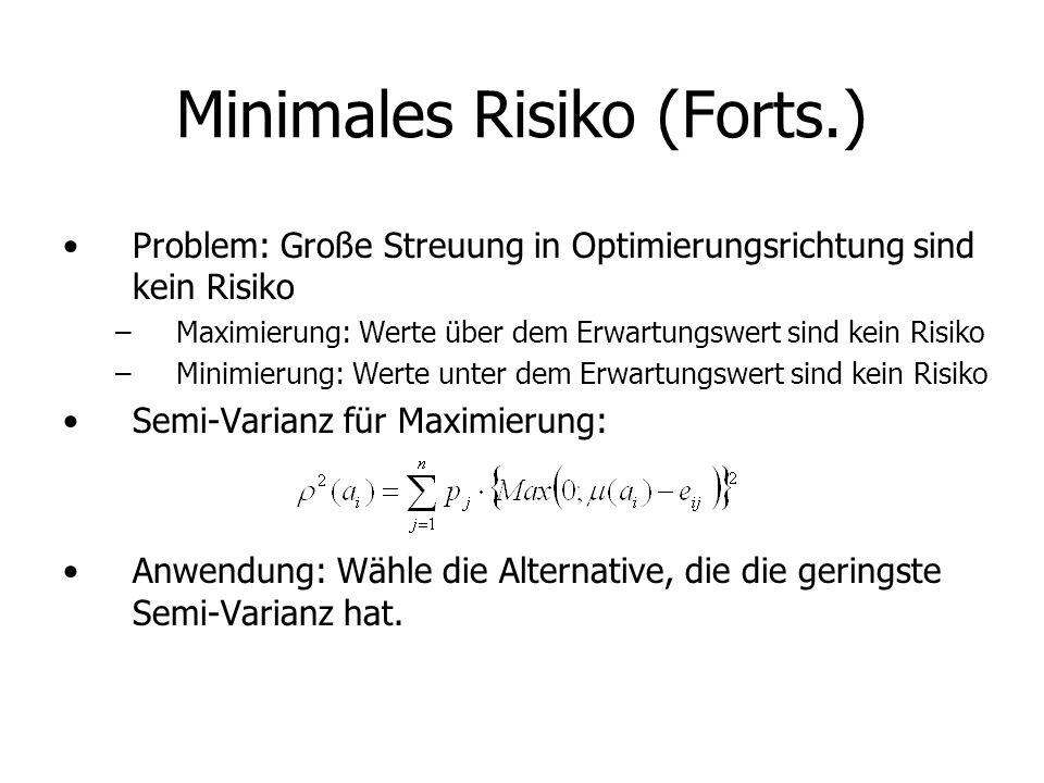 Minimales Risiko (Forts.) Problem: Große Streuung in Optimierungsrichtung sind kein Risiko –Maximierung: Werte über dem Erwartungswert sind kein Risiko –Minimierung: Werte unter dem Erwartungswert sind kein Risiko Semi-Varianz für Maximierung: Anwendung: Wähle die Alternative, die die geringste Semi-Varianz hat.