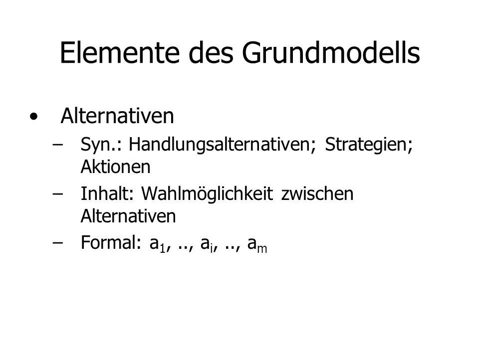 Elemente des Grundmodells (Forts) Situationen –Syn.: Szenarien, Umweltlagen –Inhalt: Konstellationen des Umsystems, die vom Entscheider nicht beeinflusst werden können –Formal: s 1,.., s j,.., s n –Eintrittswahrscheinlichkeiten: p 1,.., p j,.., p n