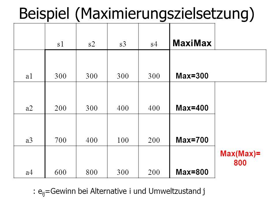 Beispiel (Maximierungszielsetzung) s1s2s3s4 MaxiMax a1300 Max=300 a2200300400 Max=400 a3700400100200 Max=700 a4600800300200 Max=800 Max(Max)= 800 : e ij =Gewinn bei Alternative i und Umweltzustand j