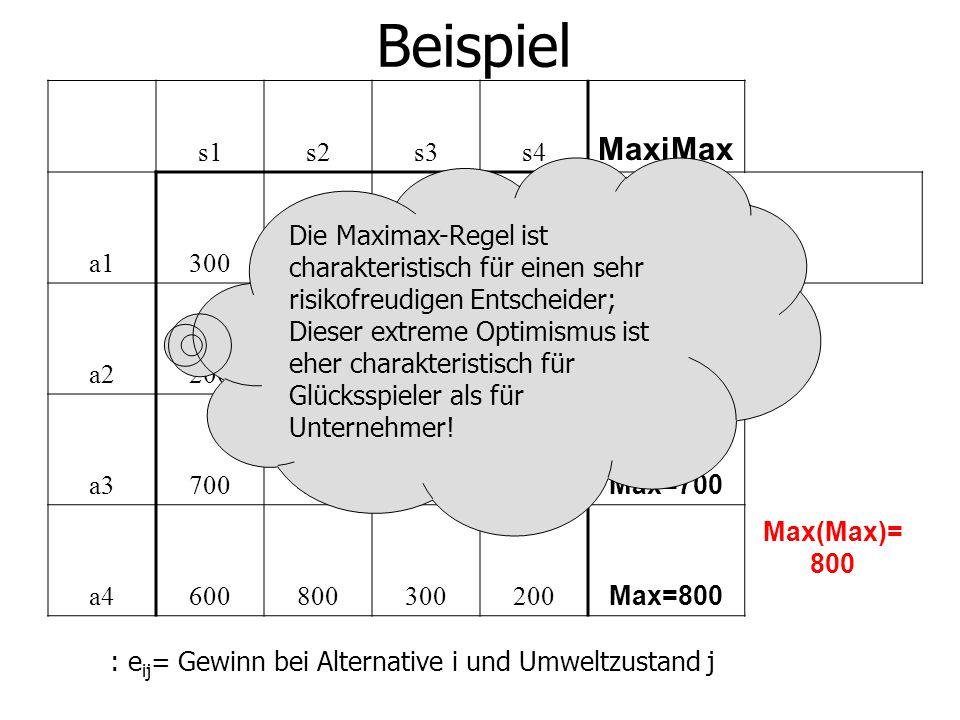Beispiel s1s2s3s4 MaxiMax a1300 Max=300 a2200300400 Max=400 a3700400100200 Max=700 a4600800300200 Max=800 Max(Max)= 800 : e ij = Gewinn bei Alternative i und Umweltzustand j Die Maximax-Regel ist charakteristisch für einen sehr risikofreudigen Entscheider; Dieser extreme Optimismus ist eher charakteristisch für Glücksspieler als für Unternehmer!
