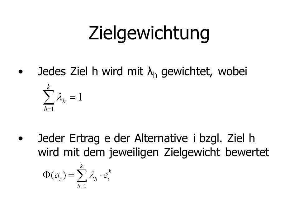 Zielgewichtung Jedes Ziel h wird mit λ h gewichtet, wobei Jeder Ertrag e der Alternative i bzgl.