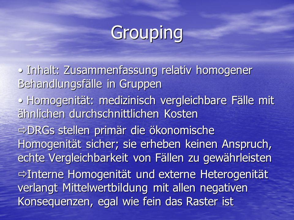Grouping Inhalt: Zusammenfassung relativ homogener Behandlungsfälle in Gruppen Inhalt: Zusammenfassung relativ homogener Behandlungsfälle in Gruppen H