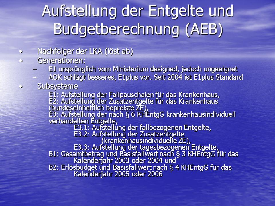 Aufstellung der Entgelte und Budgetberechnung (AEB) Nachfolger der LKA (löst ab)Nachfolger der LKA (löst ab) Generationen:Generationen: –E1 ursprüngli